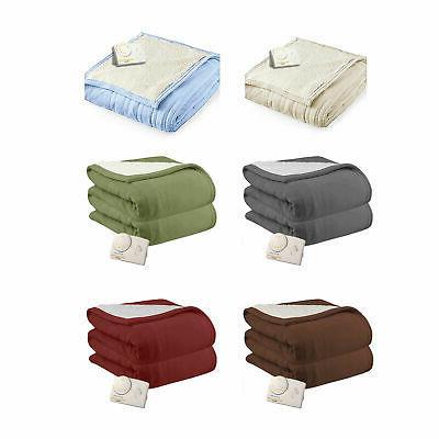 microplush sherpa analog electric heated blanket