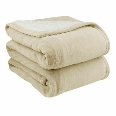 Biddeford Sherpa Heated Warming Blanket Twin Full King
