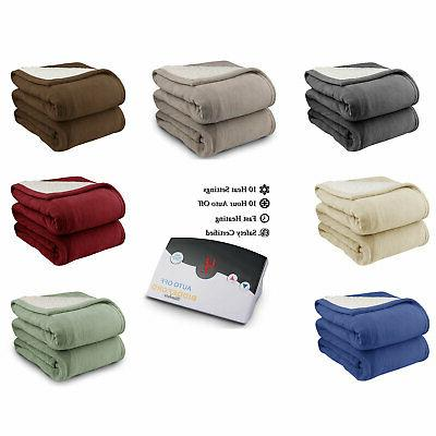 microplush sherpa electric heated warming blanket twin