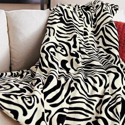 SlumberRest Zebra Black Heated Throw
