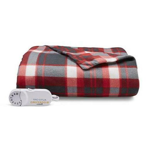NEW Biddeford Red and Black Plaid Electric Heated Throw Blan
