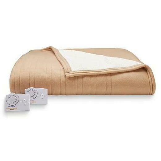 new queen size tan sherpa electric heated