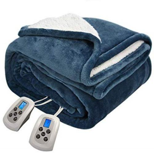 queen electric blanket microplush sherpa and reversible
