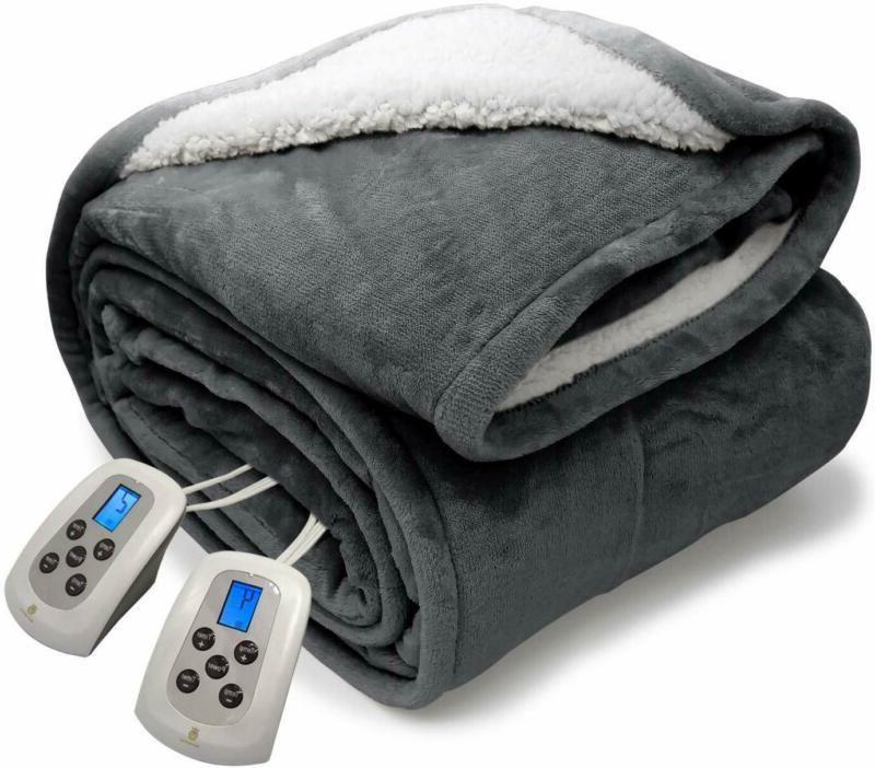 queen electric blanket sherpa and reversible flannel