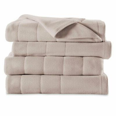 Sunbeam Quilted Fleece Electric Heated Warming Blanket Full