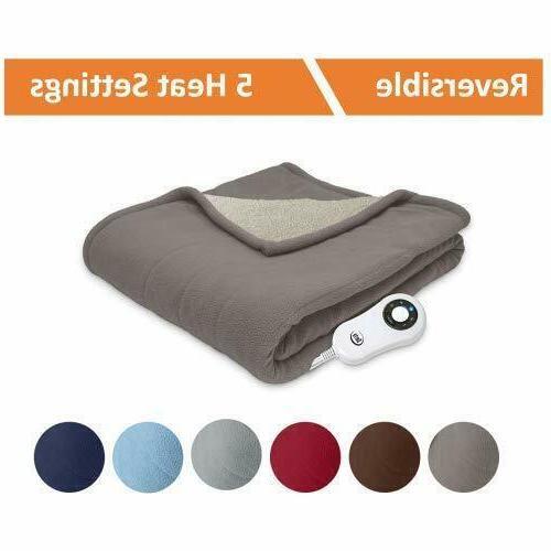 Serta | Sherpa/Fleece Heated Electric Blanket,