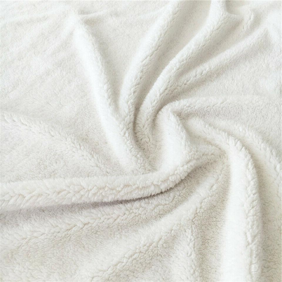 Wolf Sherpa Fleece Throw Rug Sofa Bed US