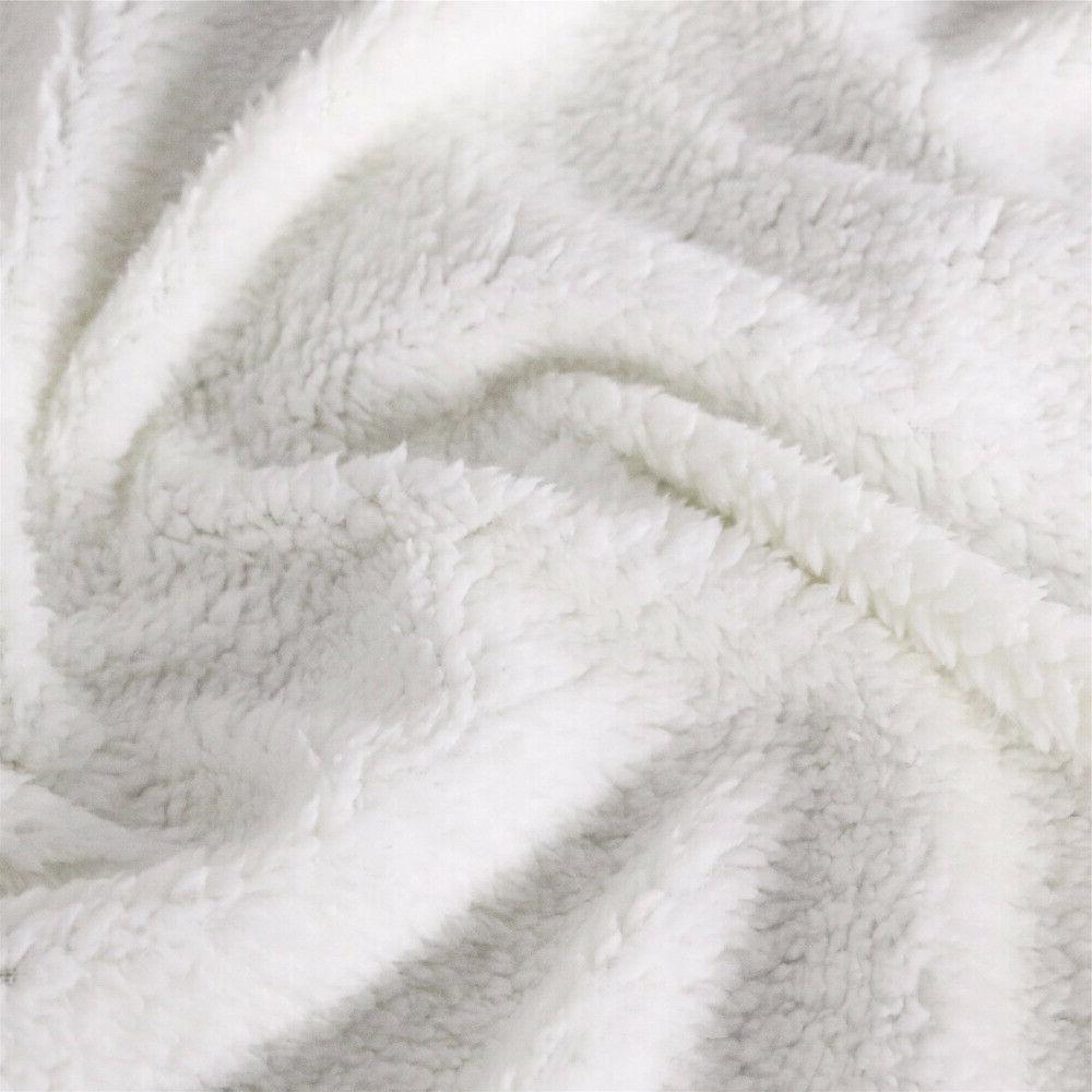Wolf Soft Sherpa Fleece Blanket Throw Rug Sofa Bed US