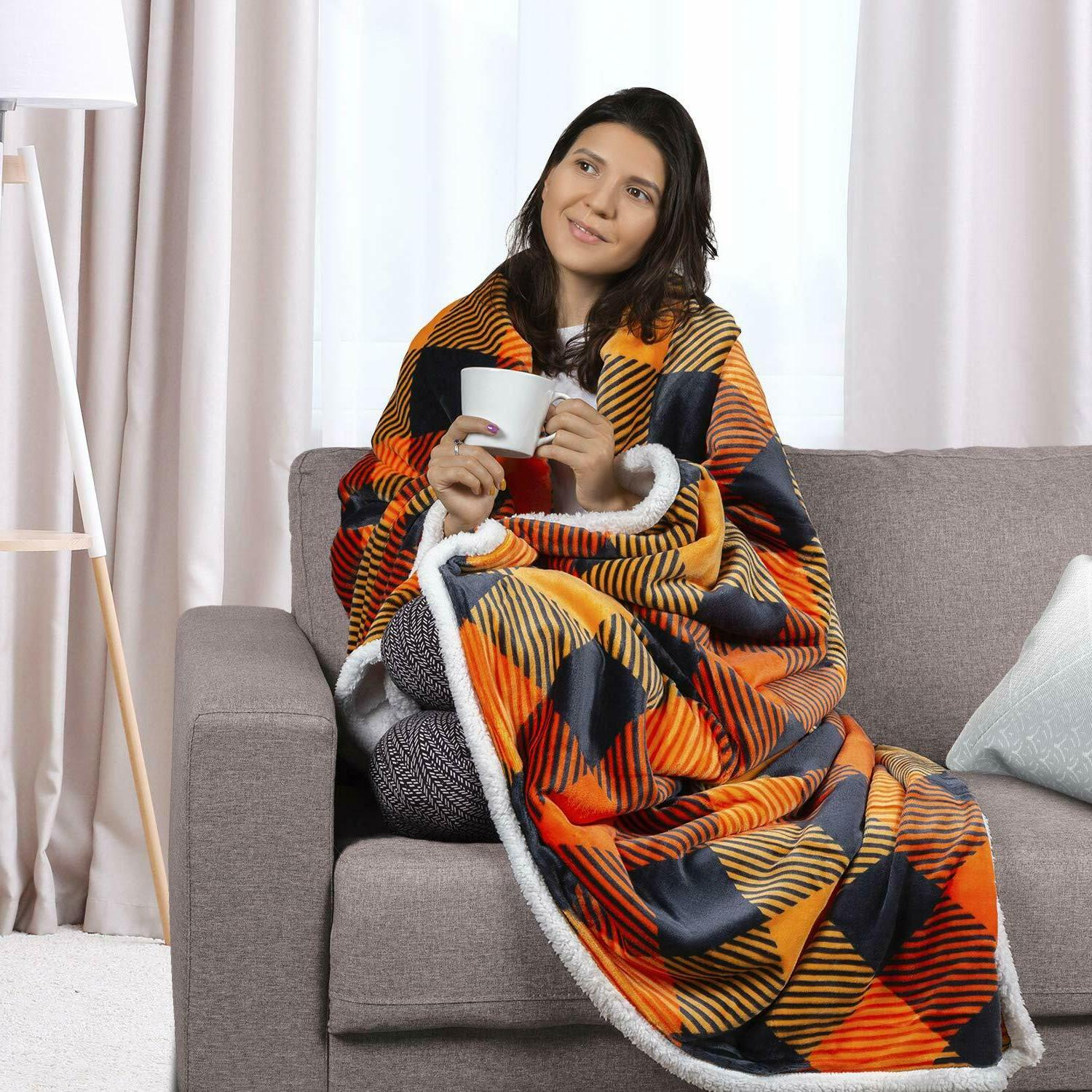 Soft Warm Blanket With Printed Flannel Fleece