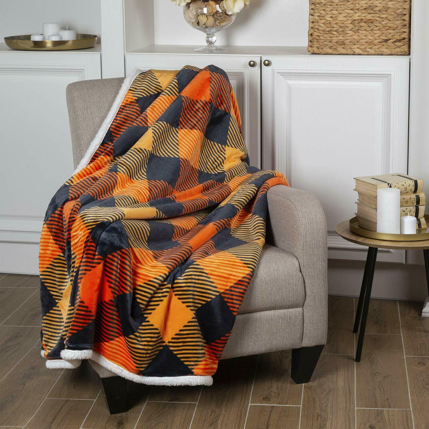Soft Cozy Throw Blanket With Flannel
