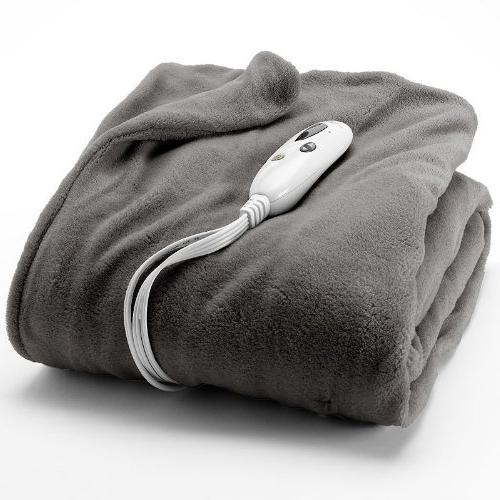 solid plush heated electric throw