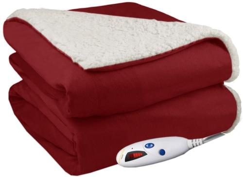 Pure Warmth Throw Electric Heated Throw Blanket Brick with N