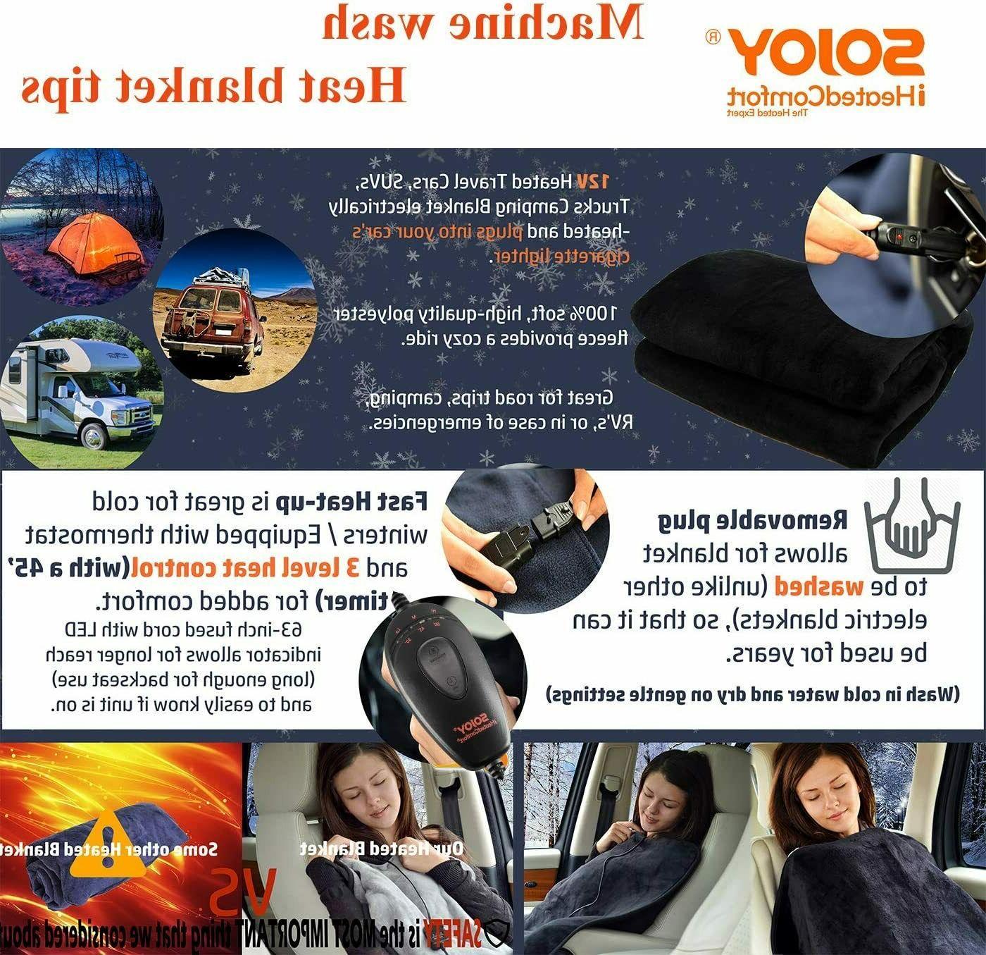 Sojoy Washable Car 12V Hi/Low Heat&Time