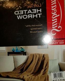 Sunbeam LoftTec Heated Throw Beige Premium Electric Blanket