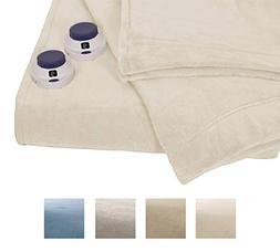 Serta   Luxe Plush Fleece Heated Electric Throw with Safe &