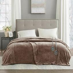 Luxury Solid Brown Electric Heated Plush Year Round Blanket