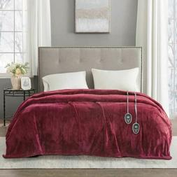 Luxury Solid Deep Red Electric Heated Plush Year Round Blank
