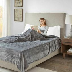 Luxury Solid Grey Electric Heated Plush Year Round Blanket -