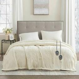 Luxury Solid Ivory Electric Heated Plush Year Round Blanket