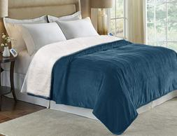 MARQUESS King Size Electric Blanket Throw,Flannel Sherpa Was