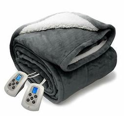 MARQUESS Queen Electric Blanket Sherpa and Reversible Flanne