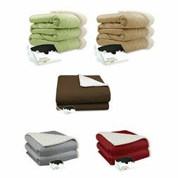 Pure Warmth Micro Mink and Sherpa Electric Heated Blanket