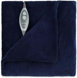 microplush electric heated throw blanket royal blue
