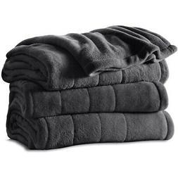 Sunbeam Heated Blanket | Microplush, 10 Heat Settings, Slate