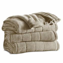 Sunbeam Heated Blanket | Microplush, 10 Heat Settings, Mushr
