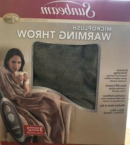 Sunbeam Microplush Heated Throw Walnut TSM8TS-R470-25B00