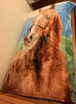 New Shavel Home Products Blanket Throw Horse Graphic Full Si