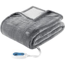 New Beautyrest Plush Berber Heated Electric Snuggle Wrap Bla