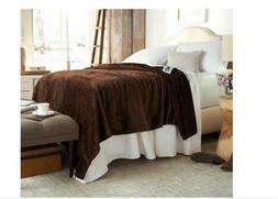 Serta Perfect Sleeper Heated Plush Blanket Queen Size Chocol