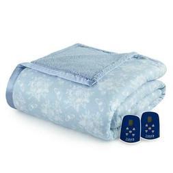 queen electric heated blanket toile wedgewood sherpa