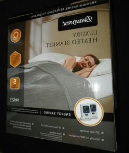QUEEN  Beautyrest Luxury Heated Electric Blanket GRAY 2 Cont