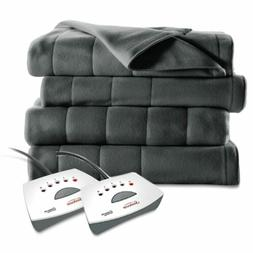 Sunbeam QUEEN Size Electric Heated Fleece Blanket SLATE GRAY