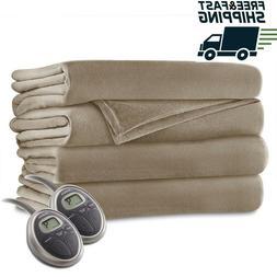 Sunbeam - Queen Size Heated Blanket Luxurious Velvet Plush -