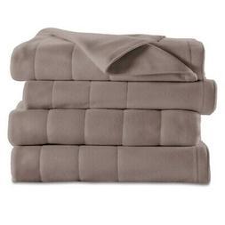 Sunbeam Quilted Fleece Heated Blanket, King, Mushroom