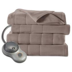 Sunbeam Quilted Fleece Heated Blanket Twin Mushroom BSF9GTS-