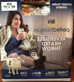 Serta Reversible Luxury Plush & Sherpa Heated Throw Blanket