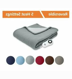 Serta | Reversible Sherpa/Fleece Heated Electric Throw - Fro