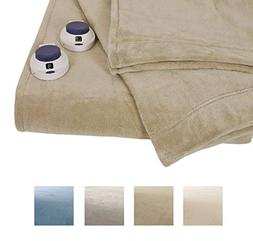Serta | Luxe Plush Fleece Heated Electric Throw with Safe &