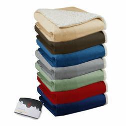 Biddeford Soft Velour Sherpa Electric Heated Warming Blanket