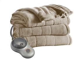 Sunbeam Beige Microplush Channeled Blanket Electric Heated W