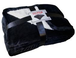 KOYOU Super Soft Black Borrego Blanket Throw Queen or Full S
