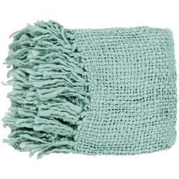 Tobias by Surya Throw Blanket, Aqua - TOB1006-5171