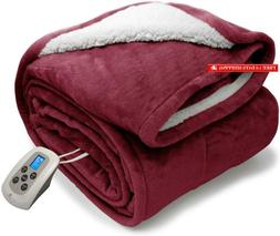 Marquess Twin Heated Blanket Electric Sherpa And Reversible