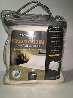 Biddeford Twin Size Electric Heated Blanket Micro Plush Ivor