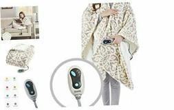 Ultra Soft Sherpa Berber Fleece Electric Poncho Wrap Blanket