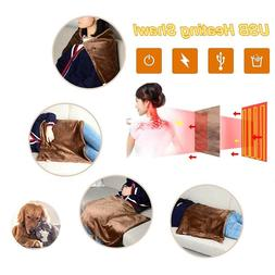 USB Heated Shawl Winter Electric Warming Blanket Pad Shoulde